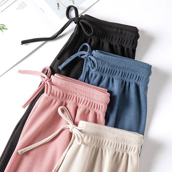2021 Spring Summer Women Wide Leg Pants High Waist Loose Casual Long Stacked Silk Pants Women's Ice Silk Ankle-Length Trousers 1