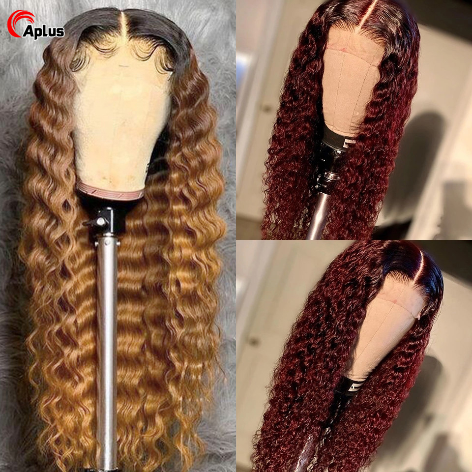 Brazilian Deep Wave 1B/27/99j/Burgandy Ombre Colored 13X4 Lace Front Curly Human Hair Blonde Wigs180%Remy Deepwave Bleached Hair