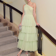 цена на Mint Prom Dress Layers Fairy Gown One Shoulder Sexy Open Back A line Young Girl Evening Dress Tiered Skirt Party Formal Dress
