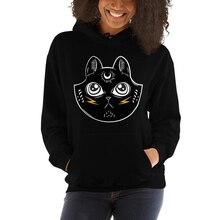 Meow Sweatshirt Hoodie Women Graphic Black Magick Witch Cat Worship Grunge Streetwear Chic Gothic Punk Fashion Autumn