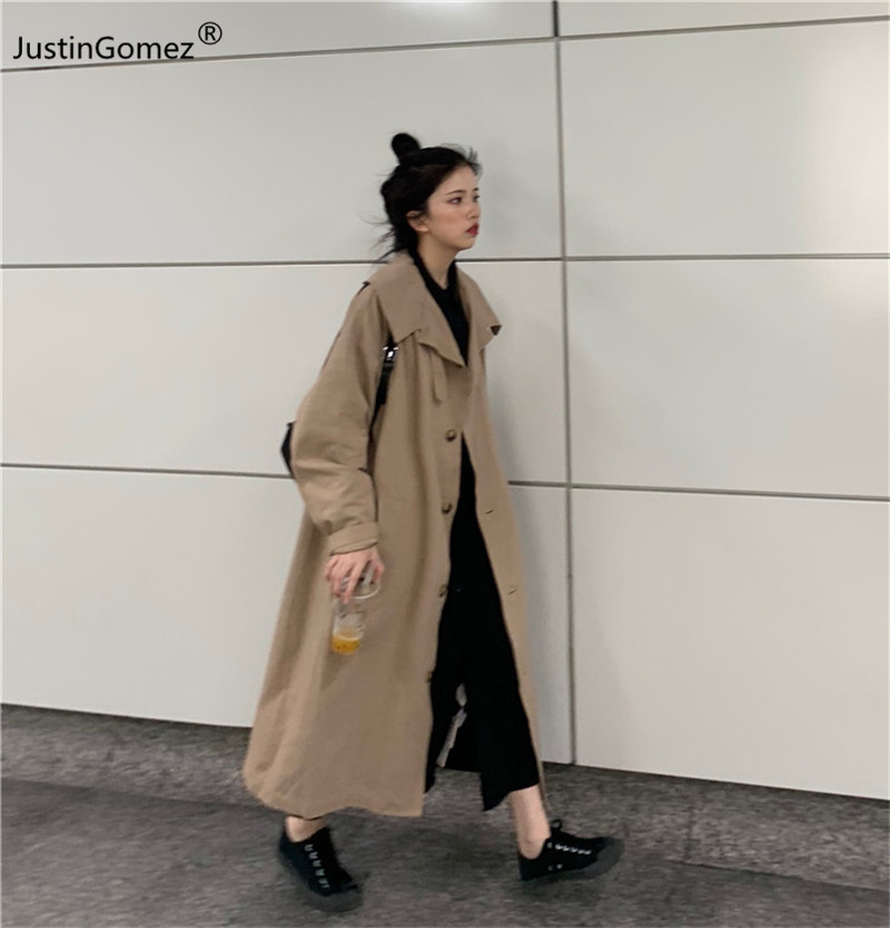 Turndown Collar Medium and Long Coat Cotton Over Knee Female Cardigan Single-breasted Solid Khaki Professional Warm   Trench   Coat