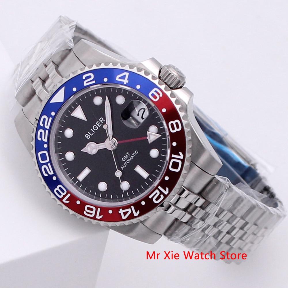 Bliger 40mm Automatic Mechanical Men Watch Luxury Sapphire Crystal Ceramic Bezel GMT Watch Luminous Waterproof Wristwatch Men