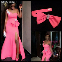 Hot Pink Mermaid African Bridesmaid Dresses With Bow One Shoulder Side Slit Plus Size Maid Of Honor Wedding Party Dress
