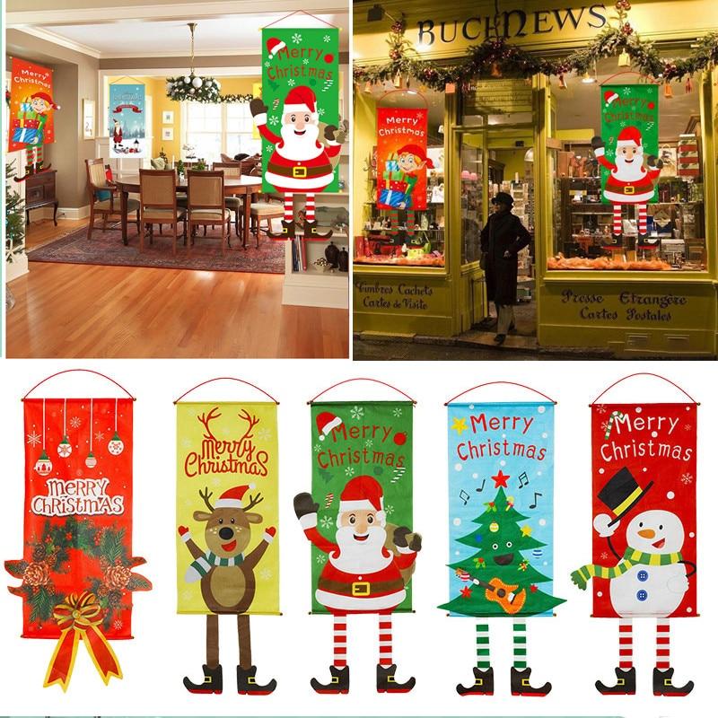 Decoração para casa feliz natal porta da varanda banner pendurado pano ornamento feliz natal navidad 2020 feliz ano novo 2021