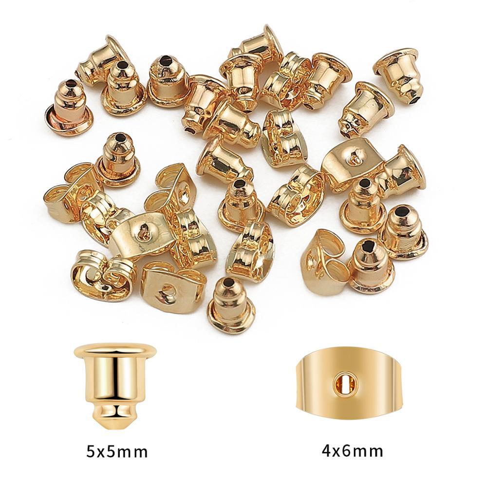10-50 шт 18k позолоченные закрытые колпачки для сережек, пробки, свитки, ушные столбы, бабочка для DIY аксессуары для ушей, ювелирное изделие