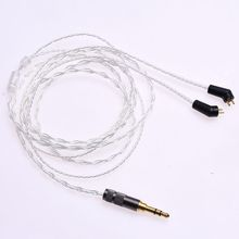 Обновленный кабель для наушников, 1,2 м (4 фута), 5N OCC, посеребренный, для типов ER4P, ER4B, ER4S, Hi Fi, 2 контактный разъем