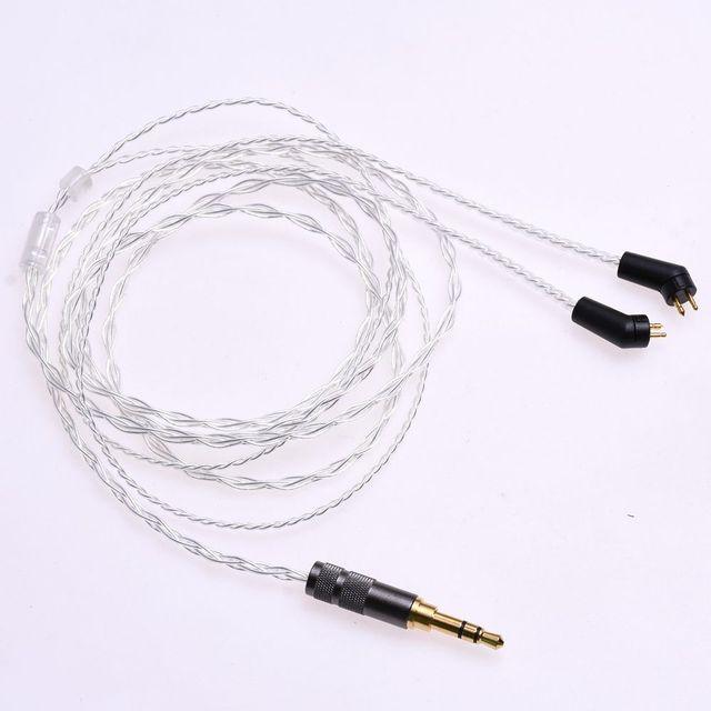 1.2m (4ft) 5N OCC ชุบเงินหูฟังอัพเกรดสำหรับ Etymotic ER4P ER4B ER4S HIFI สาย 2Pin ปลั๊ก