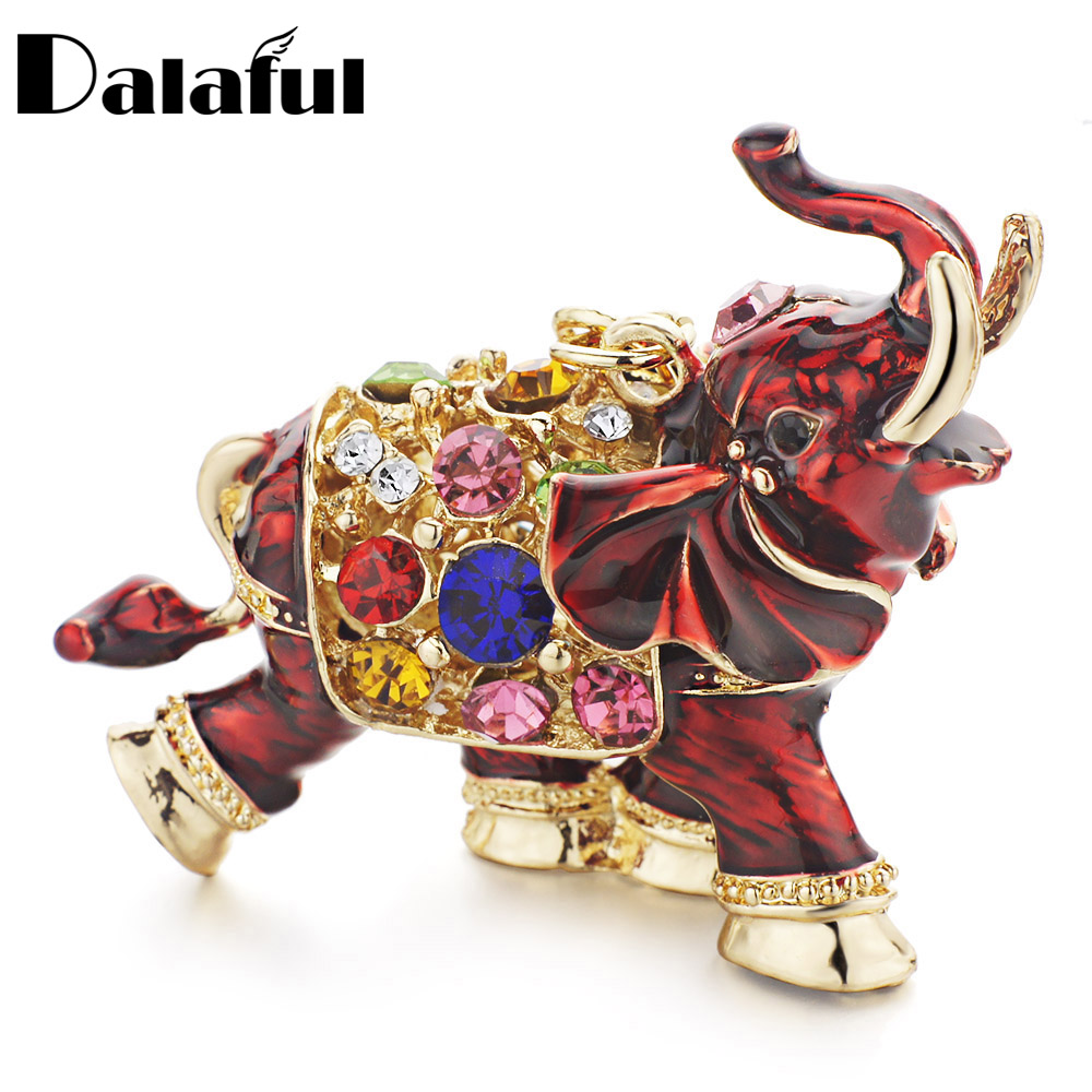Dalaful 3D Auspicious Elephant Key Holder Chains Whole Enamel Colorful Crystal Bag Pendant Keyrings KeyChains For Women K280