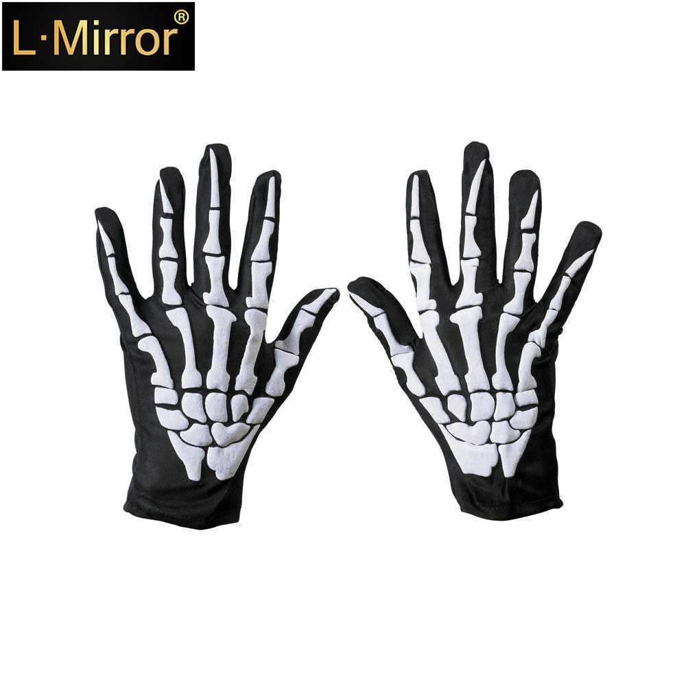 L. Ayna 1 çift yetişkin iskelet kafatası eldiven cadılar bayramı partisi Cosplay kısa eldiven kol ısıtıcıları eldiven