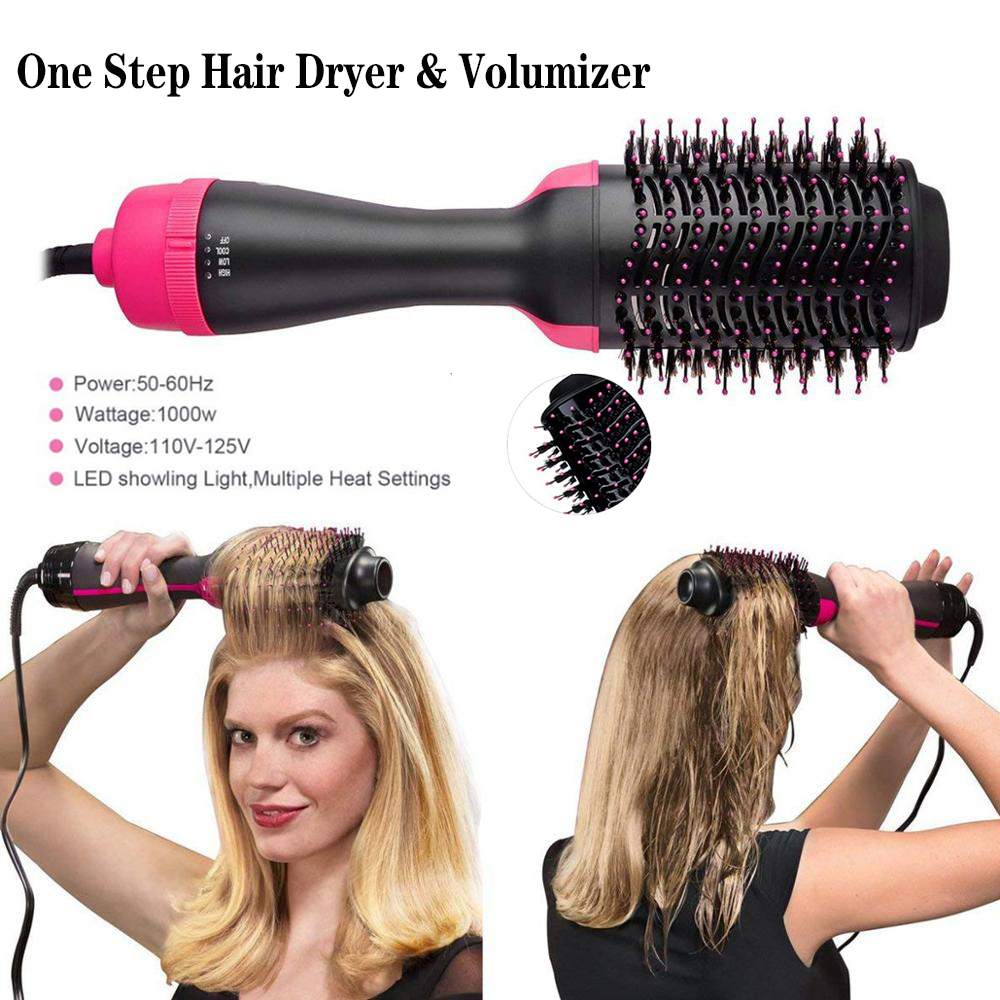 2 In 1 One Step Brush And Volumizer  Straightener Curler Negative Ion Rotating Comb Hair Hairstyling Tools
