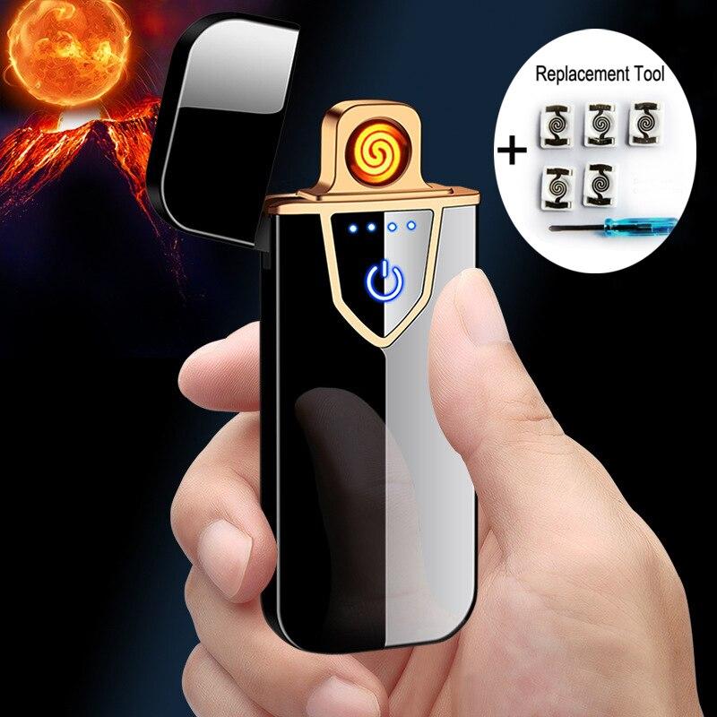Перезаряжаемая электрическая зажигалка с подключением к USB сигаретным автомобильным электронным зажигалкам Зарядка для мужчин подарки бе...