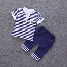 DIIMUU Fashion Summer Baby Custome Boy Clothes Kids Toddler Children Boys Clothing Sail Striped Short T-Shirt + Solid Pants Sets