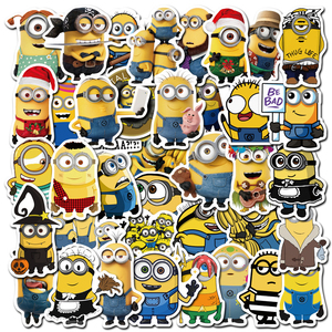 50pcs Funny Cartoon Movie Minions Stickers Waterproof Skateboard Guitar Laptop Luggage Phone PVC Decal Graffiti Sticker Kid Toys