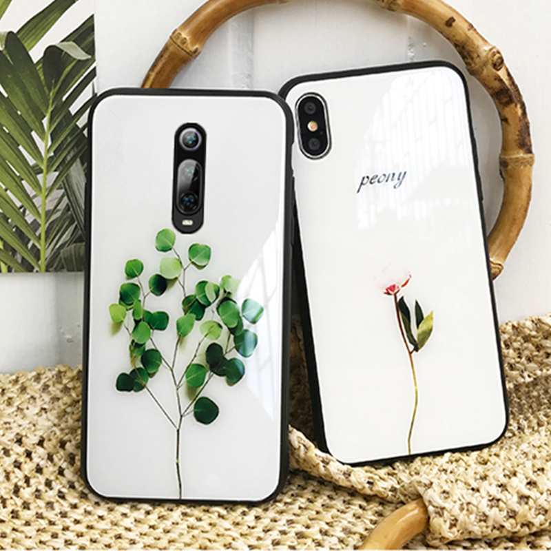 Tempered Glass Case For OPPO A11 A11X A9 2020 A5 A3 A5S A3S A7 2018 Green plant Hard Cover For OPPO A9 A5 2020 A5S Phone Casing image