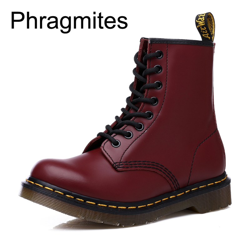 Phragmites Couple Women Martin Boots High Quality Leather Bota Feminina Fashion Motorcycle Boots Outdoor Working Snow Boots Men