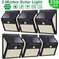 luces solares para exterior 4 modo impermeable 222 LED Solar luces de Sensor de movimiento al aire libre luz Solar de la calle lámpara de pared para la decoración del jardín 1-4 Uds focos luz solar exterior jardin