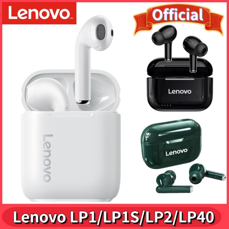 Оригинальные беспроводные наушники Lenovo LP1/LP1S/LP2/LP40, Bluetooth 5,0, стереонаушники с басами, гарнитура с сенсорным управлением, TWS наушники с микрофо...