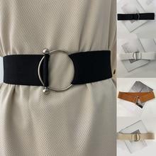Lady Fashion Waist Belt Stretch Wide Elastic Corset Waist Metal Buckle Casual Waistband Women Dress Belt Accessories