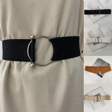 Bayan moda bel kemeri streç geniş elastik korse bel Metal toka rahat kemer kadın elbise kemeri aksesuarları