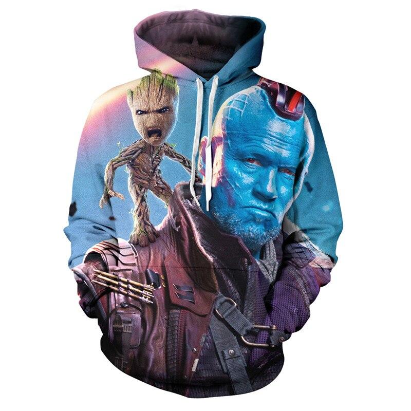 Image 4 - 2019 Guardians of the Galaxy Groot Men Hoodies Sweatshirts 3D Printed Funny Hip Hop Hoody Streetwear Pullover Hooded Men Tops-in Hoodies & Sweatshirts from Men's Clothing