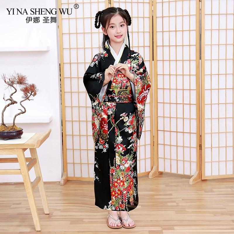 Japan Traditional Child Robe Satin Girls Yukata Kimono Bow-knot Yukata Children's  Print Dress Bridesmaid Costume Silk Kimono