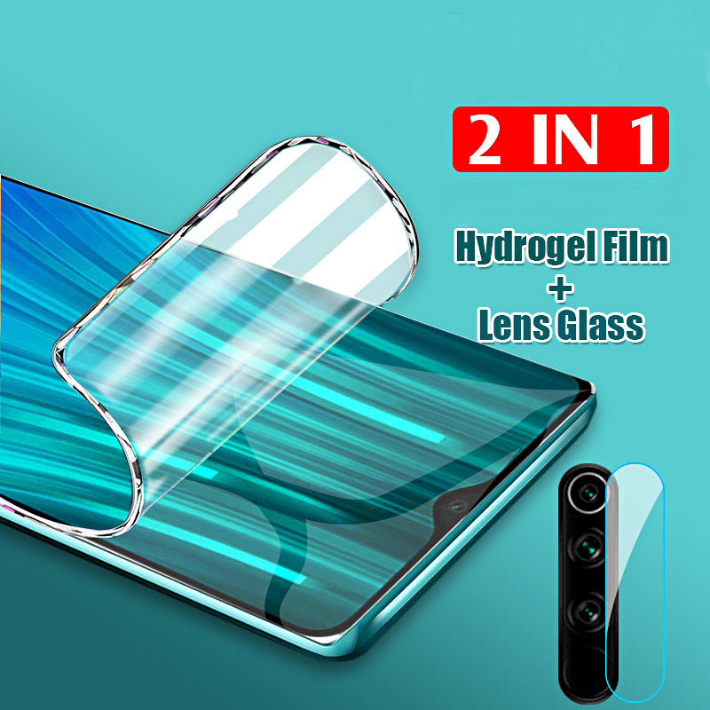 2 In 1 Hydrogel Film Camera Lens Glass For Xiaomi Redmi Note 8  Pro Screen Protector For Redmi 7 8A Protective Film, Not Glass