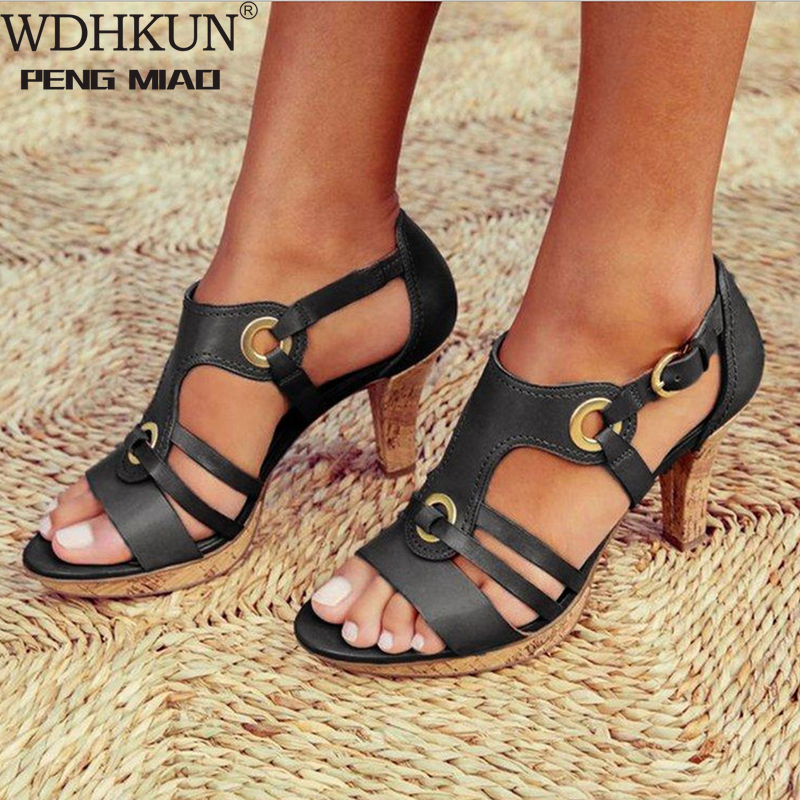 New Style Elegant Strap Sandals Women 2020 Sandals Female Bohemian Style Summer Fashion High Heels Women's Shoes Footwea