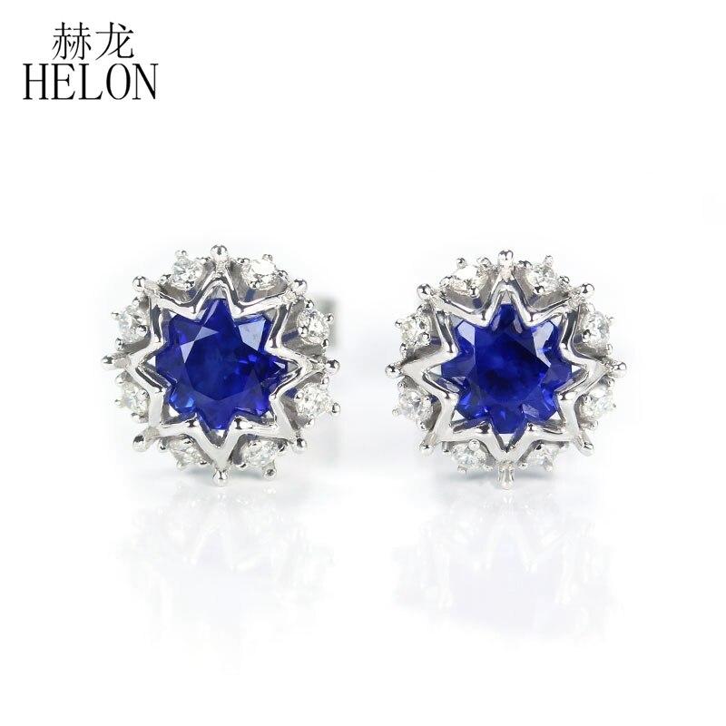 HELON 100% naturel diamant boucles d'oreilles solide 18K or blanc saphirs boucles d'oreilles de fiançailles pour les femmes Fine à la mode bijoux cadeau
