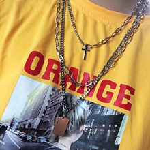 Fashion popular stainless steel personality necklace hip hop tide couple multi-layer cross necklace female wool necklace jewelry(China)