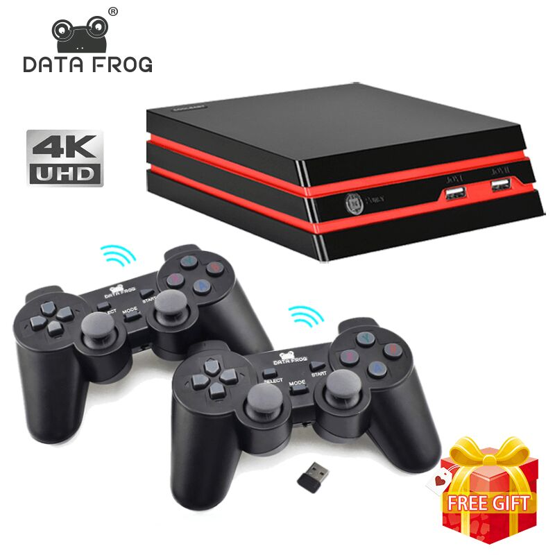 DATA FROG Console de jeu avec 2.4G contrôleur sans fil HDMI Console de jeu vidéo 600 jeux classiques pour GBA famille TV jeu rétro