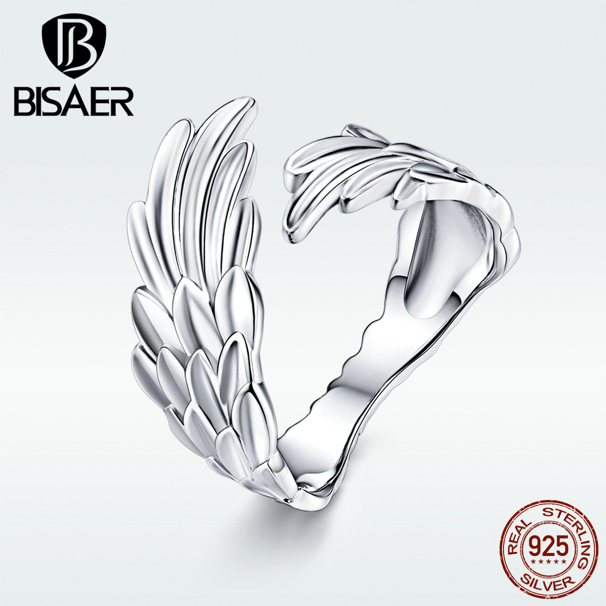 BISAER New 925 Sterling Silver Super Angel Wings Open Rings For Women Fashion Jewelry Gifts Trendy Wedding Bands Rings GXR512