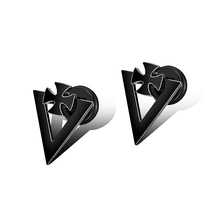 Vintage Punk Black Stainless Steel Cross Triangle Stud Earrings For Women Man Party Ear Jewelry Gift Drop Shipping