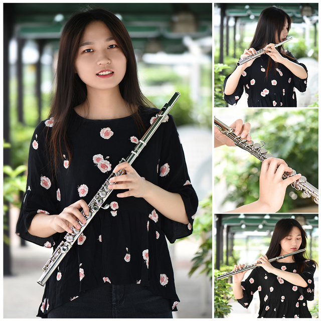 Western Concert Flute Silver Plated 16 Holes C Key Cupronickel Musical Instrument with Cleaning Cloth Stick Gloves Screwdriver