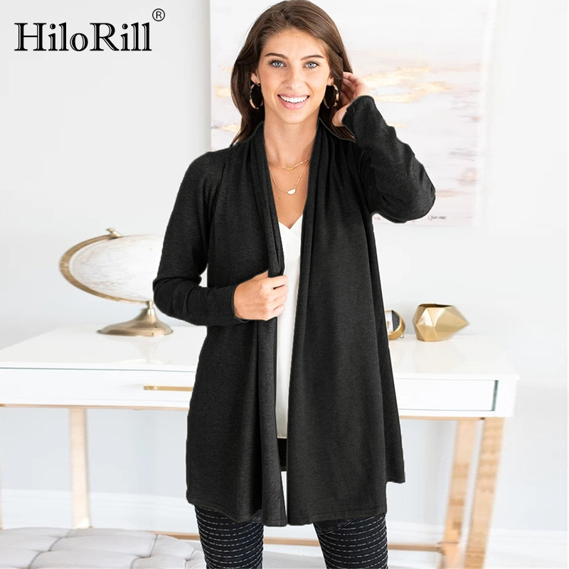 Women Knitted Cardigan Pure Long Sleeve Casual Jumper Sweater 2019 Solid Elegant Cardigan Coat Autumn Plus Size Female Tops