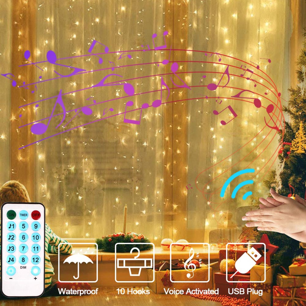 Christmas Window Curtain String Light 3x3m LED Fairy Light Outdoor Music Control/8 Lighting Mode Garland USB Wedding Party Decor