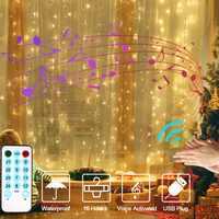 guirlande lumineuse led Noël fenêtre rideau chaîne lumière 3x3m LED fée lumière extérieure musique contrôle/8 Mode d'éclairage guirlande USB mariage fête décor