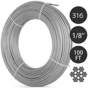 Image 1 - VEVOR 304 кабель из нержавеющей стали 0,18 дюймов 7X19 стальная проволочная веревка 100 футов стальной кабель для перил настил DIY балюстрада