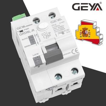 GEYA disyuntor automático GRD9L-R RCCB, dispositivo de auto pérdida 2P 40A 30mA 100mA 300mA RCD, interruptor inteligente auto rearmable 1