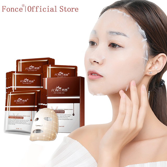 Fonce Repair Type Anti Wrinkle Silk Facial Mask Moisturizing Lifting Firming Face Six Peptides Anti Aging  Sheet Mask 10 Piece