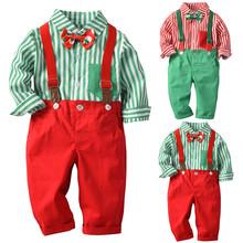 Ubranka dla dzieci kombinezon zimowy dla dzieci chłopcy dżentelmen łuk świąteczna koszula + szelki spodnie w paski zestaw strój i shein kids tanie tanio COTTON Przycisk fly Luźne Pasuje prawda na wymiar weź swój normalny rozmiar Preppy Style Baby Boys Full Striped Turn-down Collar