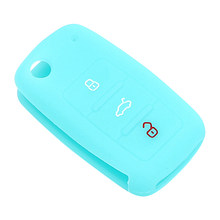 Key Case for Car Silicone For Volkswagen Skoda Jetta Lavida Golf Polo Passat Car-styling Car Key Bag Cover Protective Case(China)