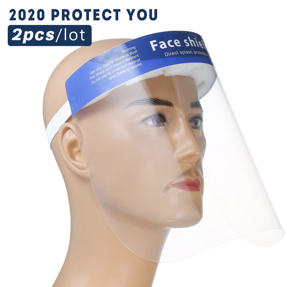 2pcs Face Shield Visiere Protection Viso Good Transparency Proteccion Virus HD Full Face Mask Hat Stop Virus Infection AF028