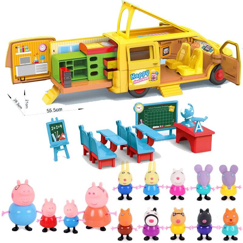 Peppa Pig School Bus Classmate Classroom Toys Peppa Pig Simulation Play House Children Birthday Gift