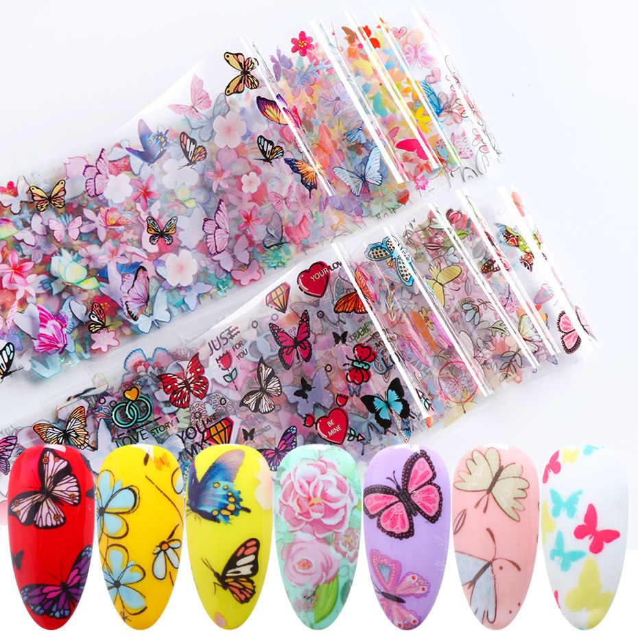 10 pçs borboleta flor adesivos na folha de unhas colorido polonês adesivo adesivo decalques do prego design da folha para unhas manicure jixk102