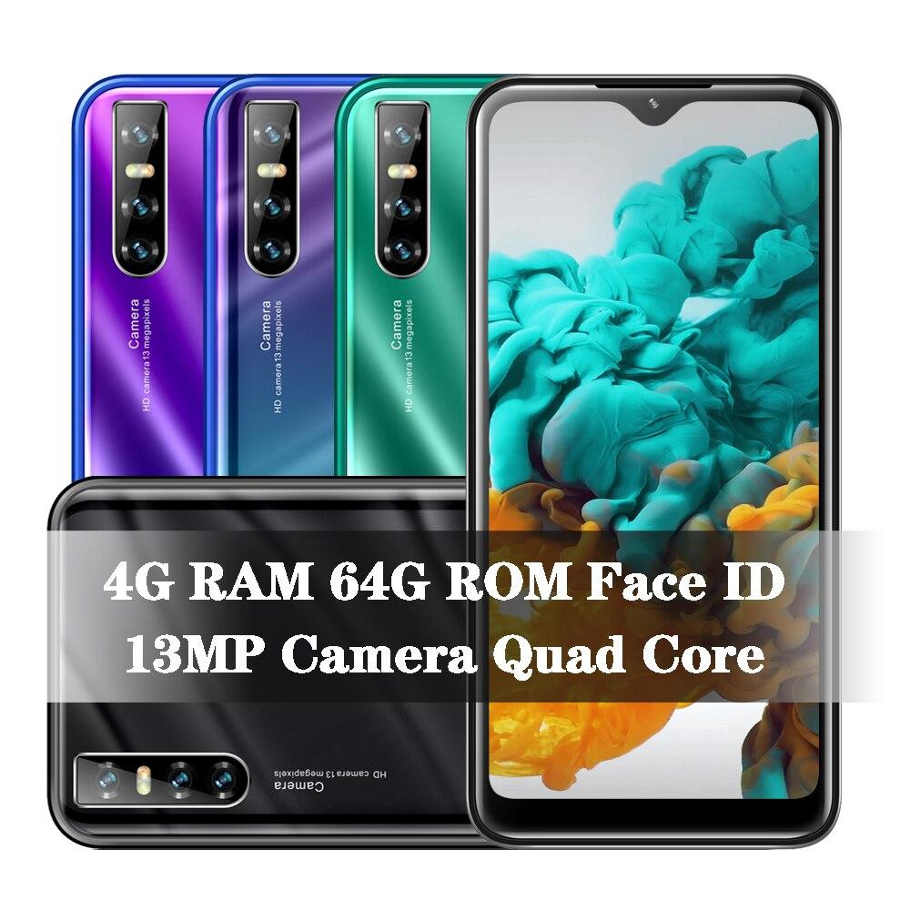 P40 Pro Smartphones 4G Ram 64G Rom Quad Core 2SIM Mobiele Telefoon Mobiele Telefoon Android Water Drop 199 13MP gezicht Ontgrendeld Celulares