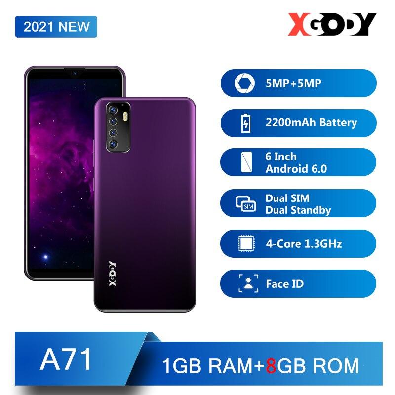 XGODY A71 смартфон 3G, 1 ГБ, 8 ГБ, Android, мобильный телефон, 6 дюймов, разблокировка телефона, распознавание лица, камера 5 Мп, две sim-карты, GPS, WiFi, четыре...