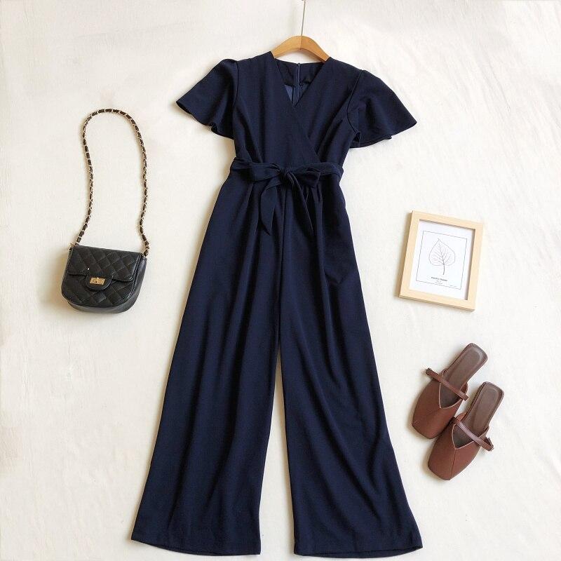 Image 3 - Женский комбинезон весна лето 2020 Корейский Новый Модный комбинезон с v образным вырезом на шнуровке с высокой талией с широкими штанинами черный комбинезонКомбинезоны   -