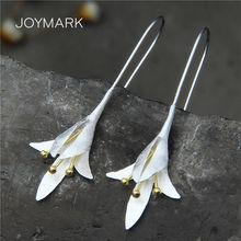 Оригинальные 925 пробы серебряные серьги с цветами лилии для