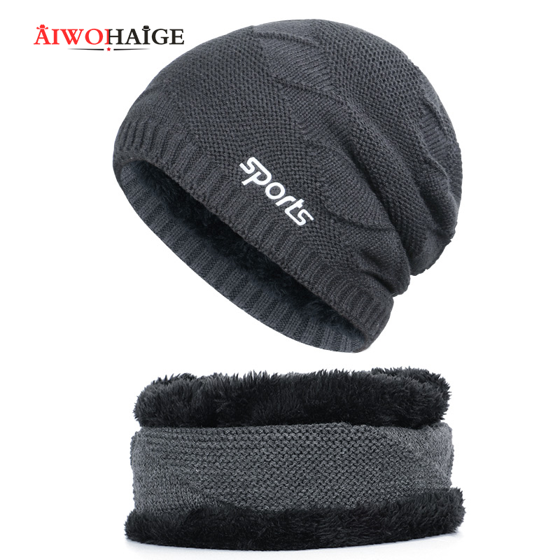 2019 New Winter Women's Cap Men's Cap Dad Hat Sport Unisex  Gorras Popular Male Skullies Warm Thicken Hedging Cap 2 Pieces Set