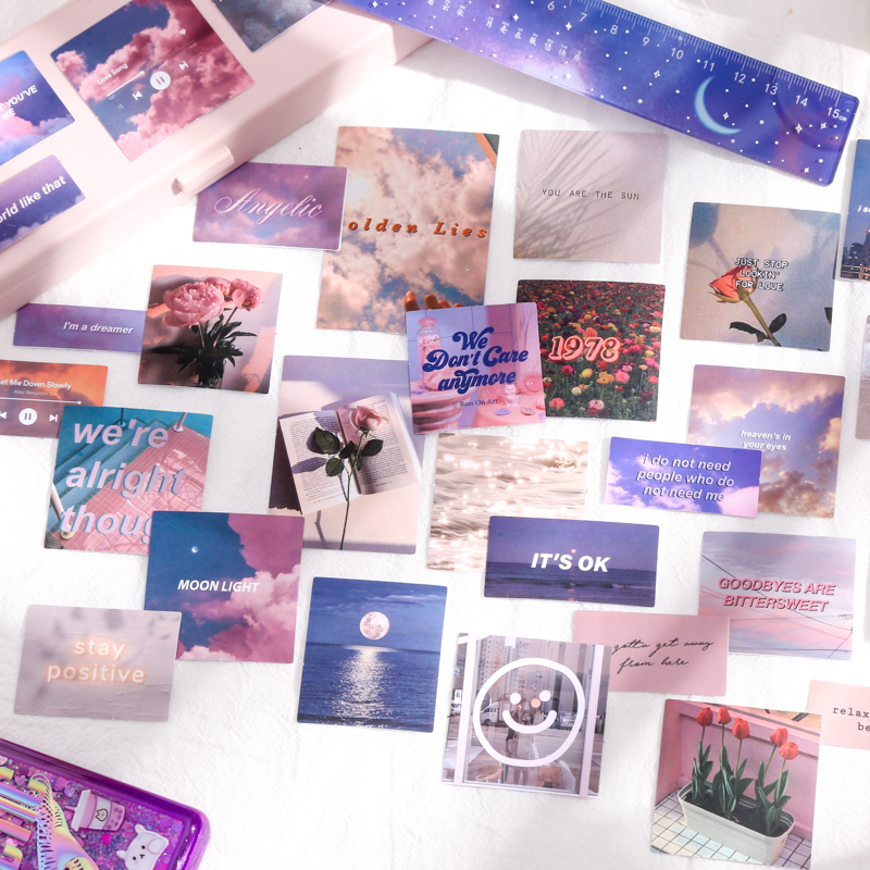 30 adet/grup INS fotoğraf gökyüzü çiçekler çıkartmalar DIY günlüğü günlüğü dekorasyon etiket estetik etiket albümü scrapbooking dizüstü